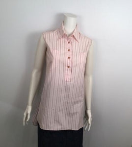 Vintage Chanel pink brown pinstripe Cotton Sleeveless Blouse Tunic Top US 6