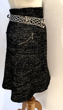 Load image into Gallery viewer, Vintage Chanel 02A, 2002 Fall Crystal Belted Dark Navy/White High Waist Skirt FR 40 US 2/4/6