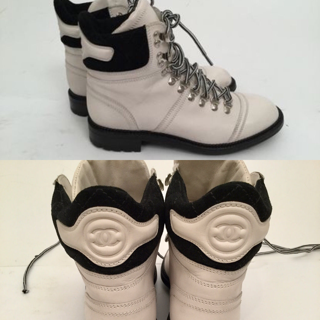 Chanel Black White Logo Lace Up Fall Winter Combat ankle Boots EU 36.5 US 6