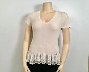 Preowned Chanel 06P white Lace T-shirt Tee Top FR 46 US 12