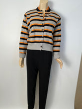 Load image into Gallery viewer, 96A, 1996 Fall Chanel vintage gray peach striped cashmere cardigan FR 44