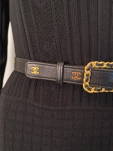 Chanel Vintage Rare 96C Black Leather CC Logos Belt Sz 65/26 US 2/4