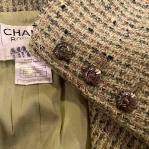 Vintage Chanel 97A, 1997 Fall Green Tweed Jacket FR 42 US 6/8