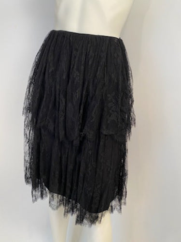 Chanel 01P 2001 Spring Black Lace Skirt FR 34