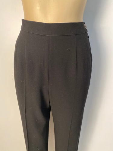 Vintage Chanel Boutique 1998 Spring 98P black soft wool pants trousers FR 36 US 2/4