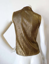 Load image into Gallery viewer, Vintage Chanel 01C Cruise Resort Sleeveless Gold Metallic Collar Polo Top Blouse FR 44