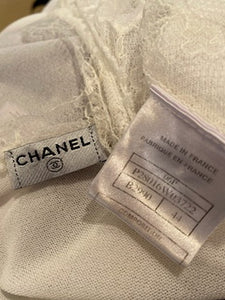 Chanel 06P 2006 Spring White Knit Lace Cardigan FR 44