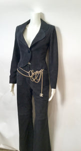 Vintage Chanel 02C 2002 Resort Cruise Velvet navy blue Jacket Pants Suit Set FR 34 US 2/4
