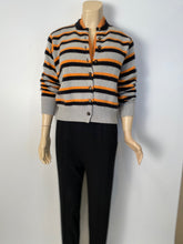 Load image into Gallery viewer, Chanel vintage 96A, 1996 Fall gray peach striped cashmere cardigan FR 44