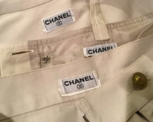 Load image into Gallery viewer, 1980 Vintage Chanel Khaki Safari Shorts Cropped Bra Top Jacket Cotton Extremely Rare 3 Piece Set US 4/6