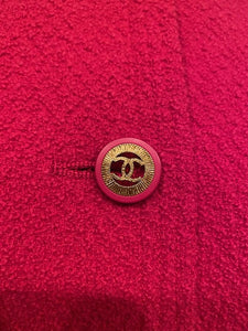 93P 1993 Spring Rare Vintage Chanel Rose Skirt Suit Set FR 40 US 4