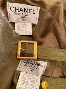96A, 1996 Fall Vintage Chanel Rare Military Olive Green Belted Jacket Pant Suit Set FR 36