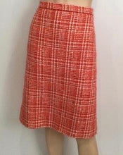 Load image into Gallery viewer, 97P, 1997 Spring Vintage Chanel Boutique Orange Plaid Wool Tweed Jacket Blazer Skirt Suit Set US 8/10