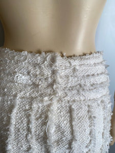 Rare Chanel 04C, 2004 Cruise Resort Ecru Tweed Fringe Skirt FR 38