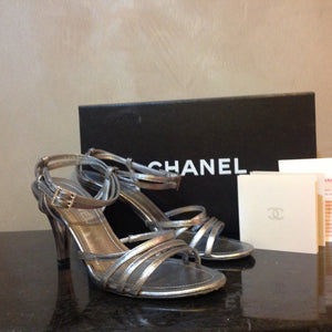 Chanel 05P Spring Metallic Silver Pewter Strap Sandal Leather Heel Pumps EU 36 US 5.5