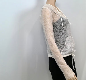 Preowned Vintage 'Le Make Up De Chanel' 04A Fall Autumn lace pullover top blouse FR 40 US 4/6