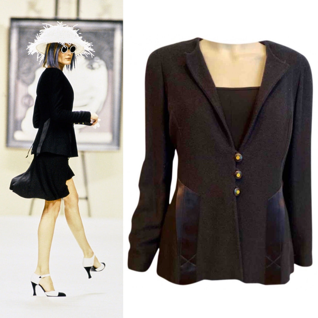 Vintage Chanel 94P Runway Black Jacket Blazer FR 42