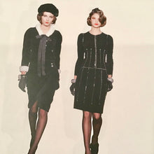 Load image into Gallery viewer, Chanel Vintage 06A Fall Autumn Velvet Cotton Zipper Chains Jacket Skirt Suit Set FR 42 US 6/8