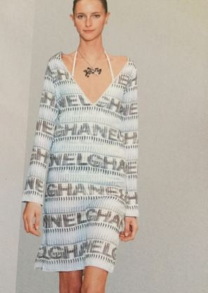 Chanel 05P Spring Cotton Tunic Swim Cover Up Logo Dress FR 38 US 4/6 Vintage