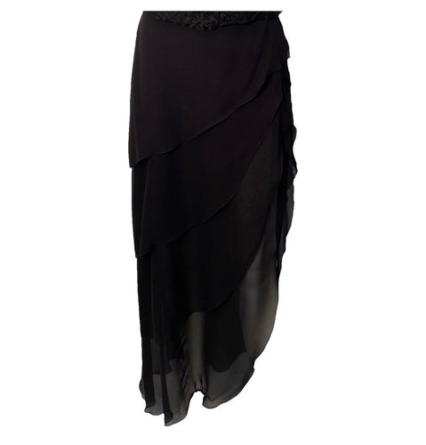Chanel 00T, 2000 Asymmetrical long Tiered Black Silk Chiffon Skirt FR 40 size 6