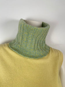 NWT Chanel 01A 2001 Fall green yellow turtleneck sweater blouse FR 40 US 4