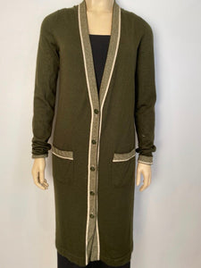 Chanel 08C Coco Line Long Cashmere Cardigan cardicoat duster FR 40