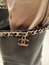 Load image into Gallery viewer, Chanel Black Leather Mid Length Calf CC Chain Logo Boots EU 39.5 US 8.5/9