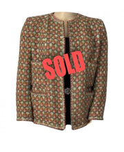 Load image into Gallery viewer, Rare Vintage Chanel 02P, 2002 Spring Heavy Green Pink Tweed Multicolor Jacket FR 46 US 16