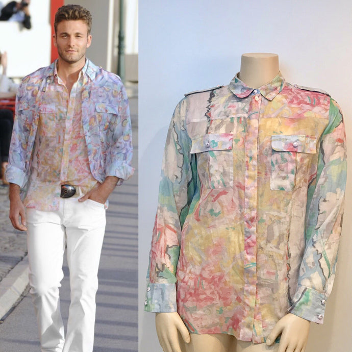 Chanel 2011 Resort Cruise Cotton pastel sheer blouse Men's FR 44 US 12/14