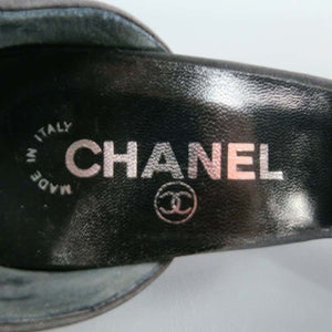 Vintage CHANEL 03A snap collection Hook Snaps Black Ankle Strap Pumps EU 39.5