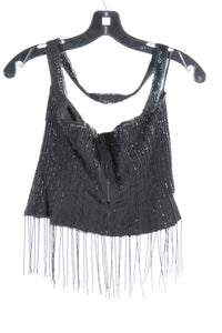 Vintage Chanel 00A Fall Autumn Black Fringe Beaded Tube Camisole Top Blouse FR 40 US 4