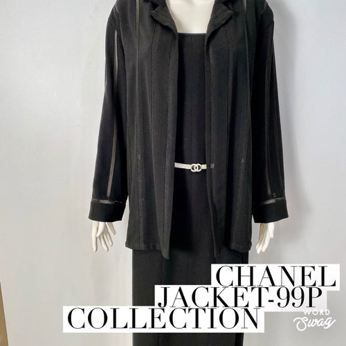 Vintage Chanel 99P, 1999 Spring Black Cardigan Coat Jacket FR 38 US 6