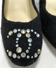 Load image into Gallery viewer, Chanel 12C black wool interlocking CC crystal cork screw heels pumps US 7.5/8