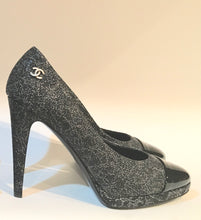 Load image into Gallery viewer, NIB New In Box Chanel Dark Silver Glitter patent platform Heel Pumps 13K 'World Map' Collection EU 38.5 US 7.5/8
