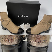 Load image into Gallery viewer, Chanel 2014 Leather Beige Black Logo Short Boots EU 39.5 US 9