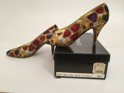 Extremely Rare! Chanel 1989 Vintage With Box! Satin CC logo Jewelry Heels EU 38.5 US 7.5/8