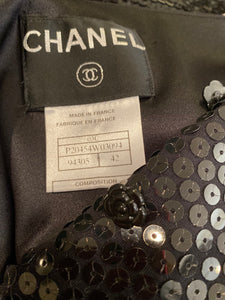 Chanel 03C Silk Charmeuse Vest with black sequins FR 42