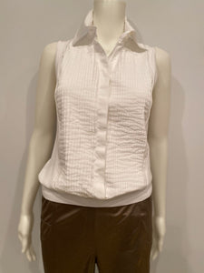 Chanel White Pleated Collar Cotton Top Blouse FR 42