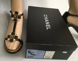 Chanel 07P Spring Gripoix Jewel black patent leather strap Heels EU 38.5 US 7/7.5