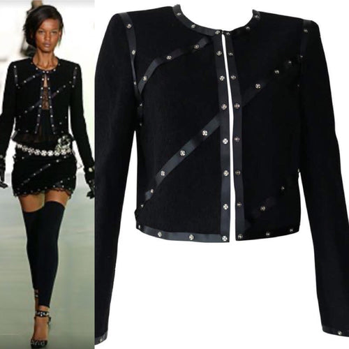 Chanel 2003 Fall 03A Snap Collection black Cropped Boucle Tweed Jacket FR 48 US 10/12