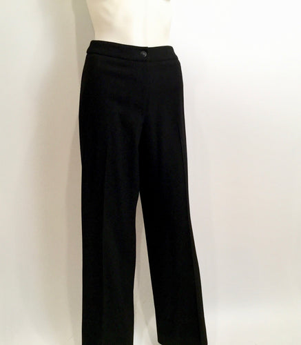 Chanel Black Wide Leg Wool Cashmere Pants Trouser US 8