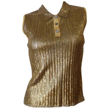 Load image into Gallery viewer, Vintage Chanel 01C Cruise Resort Sleeveless Gold Metallic Collar Polo Top Blouse FR 34 US 2/4