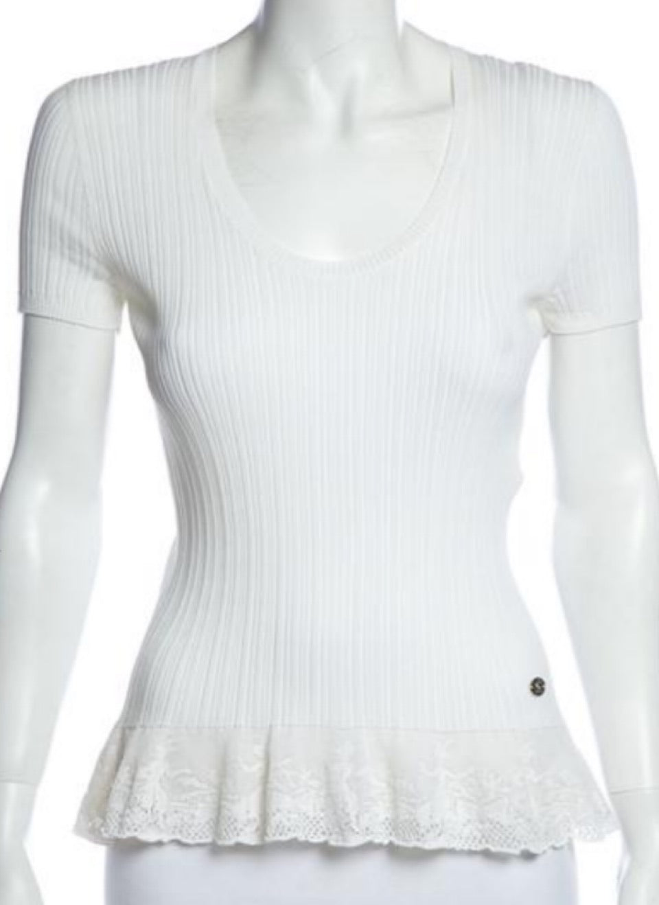 Chanel 06P white ribbed Lace T-shirt Tee Top FR 46 US 12