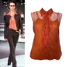 Load image into Gallery viewer, Vintage Chanel 02P, 2002 Spring 2-piece Orange Top Blouse Camisole sheer Lace Set FR 38