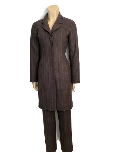 Vintage Chanel Identification 99A, 1999 Fall Gray Brown Pinstripe Pant Suit Set FR 34 US 2