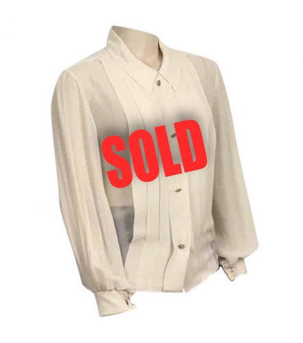 1987, Collection 20 Vintage Chanel Ivory Ecru Silk pleated Button down Blouse Top US 12