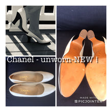 Load image into Gallery viewer, Chanel white leather black patent platform heel pumps EU 39 US 8.5