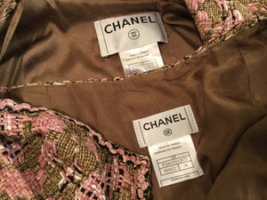 Chanel Vintage 03P Spring Pink Brown Tweed Cotton jacket blazer skirt suit set FR 38 US 4