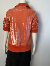 Load image into Gallery viewer, Chanel is 08C Salmon Coral Orange Sequin Terry Cloth Bomber Jacket FR 40