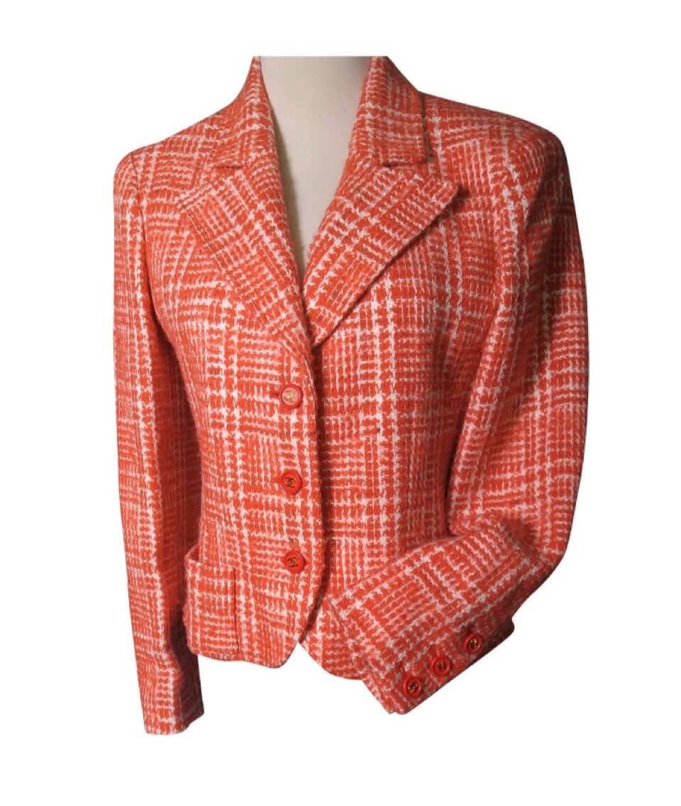 Chanel Boutique Vintage 97P, 1997 Spring Orange Plaid Tweed Blazer Dress Jacket US 8